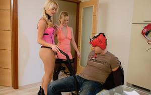 Young blonde girls tie up their guy friend and face sit him before riding him