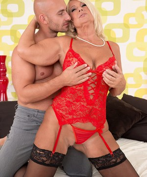 Beautiful blonde granny Regi gets banged by her younger man's big dick