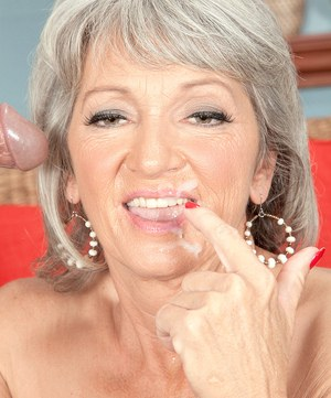 Hot grandmother Cheyanne offers up her pierced pussy to a way younger boy