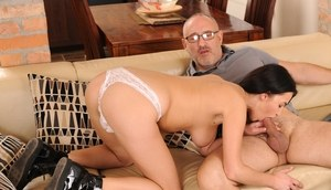 Young brunette girl Nikky Perry devours an old man's cock and jizz