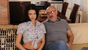 Young brunette girl Nikky Perry has sex with her stepgrandfather