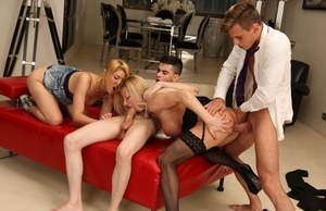Lara de Santis and Leona Green fill out a foursome with 2 boys from the office