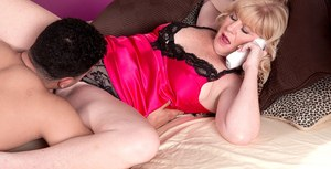 Sexy older lady Dawn Jilling dials up anal sex action with a male escort