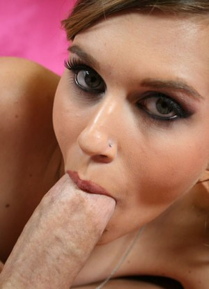 Young slut Sabrina Starr sucks the cum from a cock with an up close blowjob