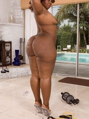Black BBW Amira Jones slips off workout pants to expose her huge ass