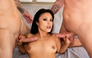 Asian pornstar Kaylani Lei gets double fucked in long socks and stripper boots