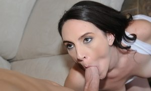 Brunette MILF Charlotte Davis goes topless while giving a blowjob