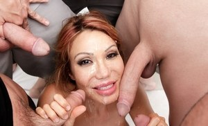 Asian MILF Ava Devine gets butt fucked wearing black nylons