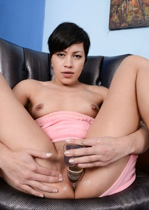 Middle-aged Latina woman Jade Rox toys her twat before spreading ass and labia