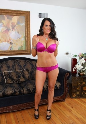 Older mom Reagan Fox strips off red dress and matched lingerie to pose nude
