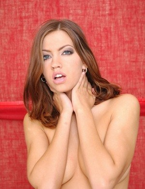 Sweet brunette female Eufrat slides a dildo in between her puffy labia lips