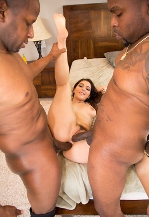 Naked female Valentina Nappi sucks two big black cocks after a DP
