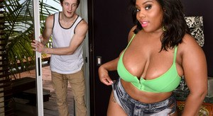 Overweight black chick with a big ass gets nailed by a white guy