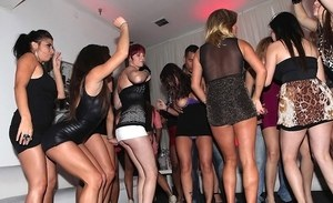 Clubbing females get busy with group sex after getting horny on dance floor