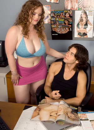 Busty chick Contessa Rose seduces a guy at work in a halter top and miniskirt