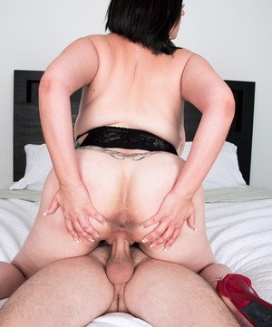 Brunette MILF Paige Turner catches a cumshot on her hooters after fucking