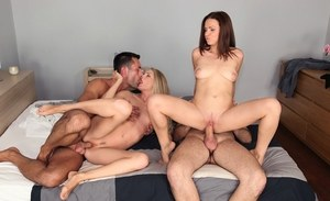 Mira Shine & Cayenne Klein get rubbed down before having a 4some with masseurs