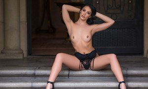 Centerfold model Kendra Cantara removes sexy lingerie for nude poses