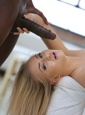Blonde chick Cayla Lyons gets nailed by a really big black penis