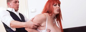 Mature redhead BBW Roxee Robinson gets nailed wearing white stockings