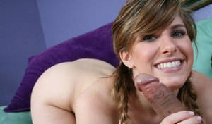 Nude young girl Roma spits cum out of her mouth after giving a blowjob