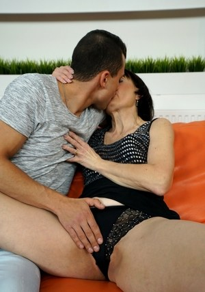 Dark haired grandmother Alice Sharp fucks her younger lover and blows him too