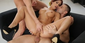 Redhead slut Katie Fuckdoll takes a cock up her ass while sucking cock