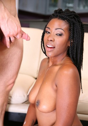 Black female Janelle Taylor gets banged by a white dude on a sofa