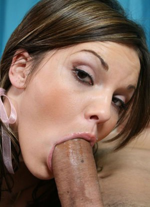 Young hottie in pigtails sucks off a massive cock like an old pro
