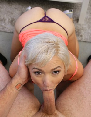 Blonde gf Eliza Jane gives a long cock a blowjob on her knees