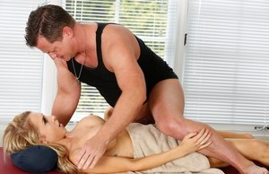 Busty blond chick Alix Lynx is left with a creampie twat thanks to her masseur