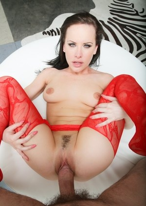 Brunette chick Katie St Ives gets fucked POV style wearing red stockings