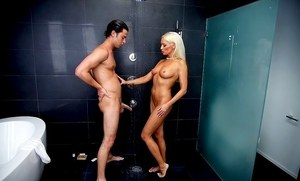 Hot cougar Diana Doll seduces and blows her daughter's boyfriend in the shower