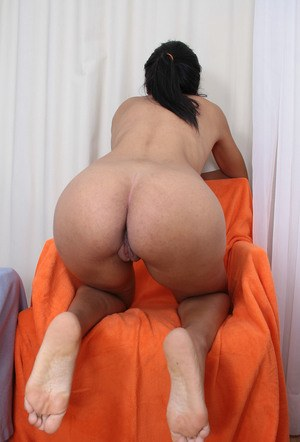 Black amateur Morgan Michele bares her big natural tits and then her bald twat