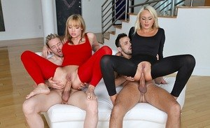 Two hot chicks in tight crotchless clothes do anal with each others guy