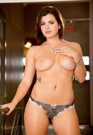 Curvy solo girl Keisha Grey peels off her bra and panty set to pose nude