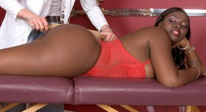 Black female Hershey Bryant takes a cumshot on her big ass from her doctor