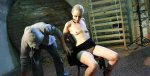 Blonde chick Roxy Lee finds herself tied up and being masturbated
