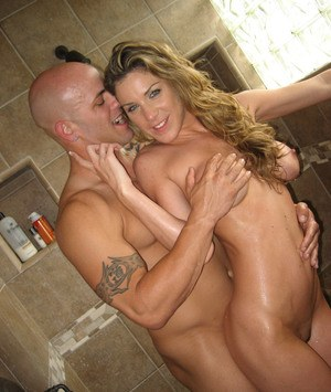 Busty ex-gf Kayla Paige gets pressed up against shower wall during a hard fuck
