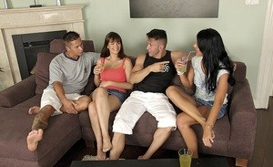 An evening of drinking quickly turns to swinging foursome between couples