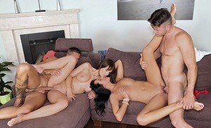 Mia Manarote & Rita get their guys ready for a foursome by humping each other