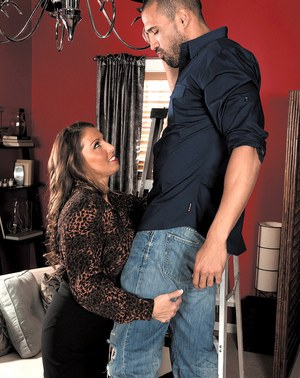 Middle-aged lady Stacie Starr seduces a younger man in crotchless pantyhose