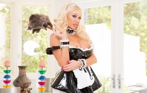 Hot blonde maid Summer Brielle pulls her big tits out of her uniform