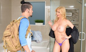 Blonde mother with bog tits seduces her stepson in the shower