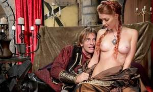 Busty redhead Marie McCray gets boned by a large cock with hair in pigtails
