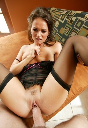 Brunette chick Tori Black does a big cock wearing sheer nylons