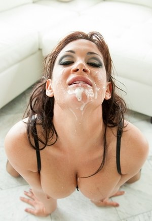 Pornstar Tory Lane gets facialized after an extreme DP with two black men