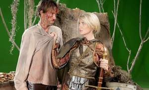Platinum blonde chick Amanda Tate seduces a man in her warrior's outfit