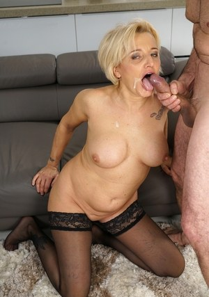 Blonde granny Maria Jamma has her pussy ate out before getting fucked