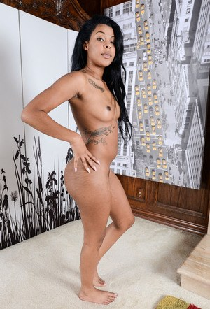 Ebony amateur Zoey Reyes slip out of hr see thru panties to show her snatch